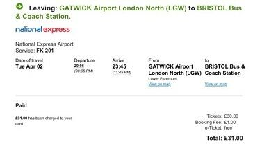 x2 London Gatwick to Bristol - Coach Ticket 02/04/2019