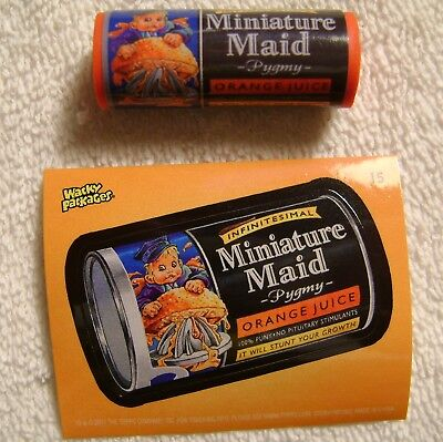 """1.75"""" Wacky Packages Miniature Maid Eraser Sticker Card Topps 2011 Minute"""