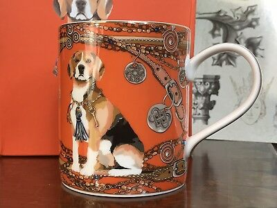 Rosenthal Manuela Federica Dog Cofee Mug Gold Coffe Mug Orange Collectible