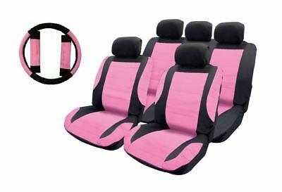 Pink Leather Look Car Seat Covers + Steering wheel for Jeep Wrangler 97-On