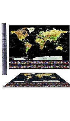 Scratch Off Journal World Map Personalized Travel Atlas Poster w/Country Flags