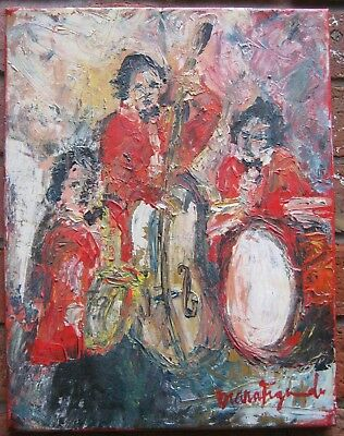 Acrylic on Canvas Musicians Trio Signed