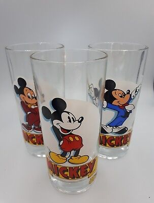 rare lot 3 VINTAGE RETRO VERRE MICKEY MOUSE DISNEY France Reims à moutarde?