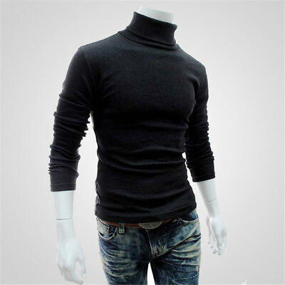 Mens Slim Sweaters Turtleneck Pullover Casual Warm Long Sleeve Solid Color Tops