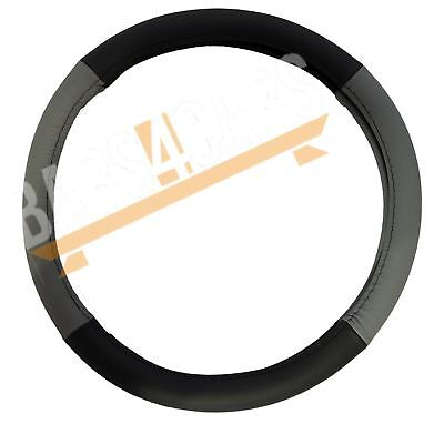 Grey Black Leather Stitched Steering Wheel Cover for Ssangyong Rexton