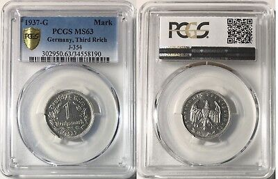 Nazi Germany 1937-G 1 Mark, KM-78, PCGS MS63