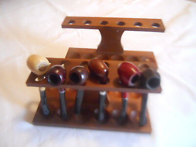 VINTAGE ESTATE SMOKING Pipes Fairfax Wood Pipe Stands Lot Of 8