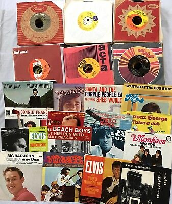 Lot of 175 Vintage 45s Singles EPs Records Lots of Picture Sleeves 1950s 60s 70s