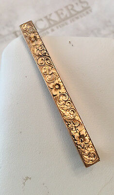 Antique Art Deco 14k yg Etched & Engraved Flower and Swirls Bar Pin signed L&A