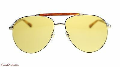 f57393d756c Gucci Mens Aviator Sunglasses GG0014S 004 Gold Havana Brown Lens 60mm  Authentic