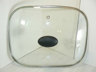 """Replacement Rectangular Clear Glass for Lid GE Extra Large Skillet 16"""" x 12"""" EUC"""