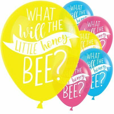 Gender Reveal What Will It Bee He She Baby Shower Party Balloons x 6