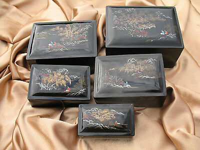 Five Vintage Antique Chinese Foochow Lacquer Ware Boxes Fuzhou 福州