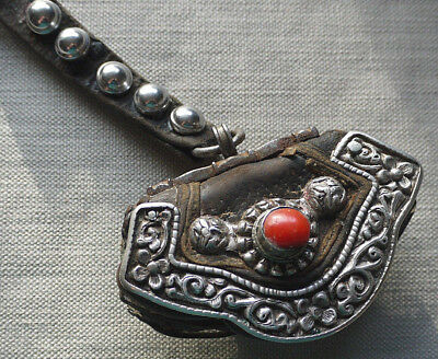 Antique Tibetan Leather Tinder Pouch Coral Copper Silver?