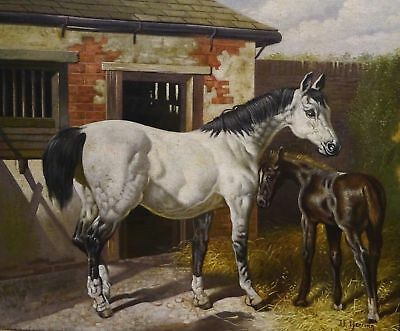 """White Horse Mare & Foal"" Barn Scene J.F. Herring Signed Oil Painting"