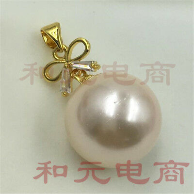Mesmerizing REAL 16 MM BLACK ROUND pink shell pearl PENDANT NECKLACE HUGE party