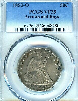 1853 O Seated Liberty Half Dollar PCGS VF 35 Arrows and Rays Excellent Strike