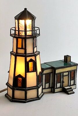 """Vtg Stained Glass Lighthouse Night Light Lamp w/Attached House 9"""" X 6"""" Solid EUC"""