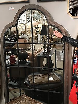 """Xxl 80"""" Farmhouse Window Reclaimed Weathered Wood Aged Arched Wall Mirror"""