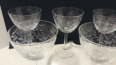 Daisies Vintage Czechoslovakia Etched Bohemia Champagne Glasses Set Of 12 Last Style