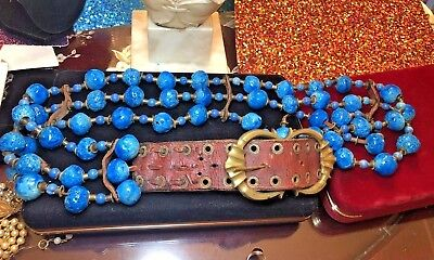 Estate Find Antique Dyed Blue Coral Leather Belt Brass Capped Hand Made
