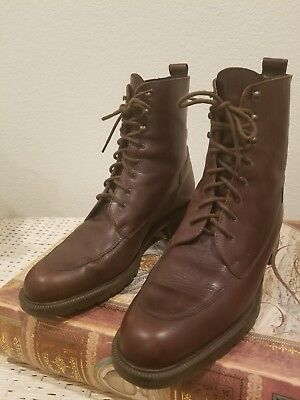 Vintage Eddie Bauer Granny Lace Up Ankle Boots Womens 9 Brown Italian Leather