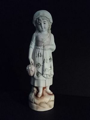 Antique Late 1800's German Little Bisque Girl  Figurine  Holding A Fruit Basket