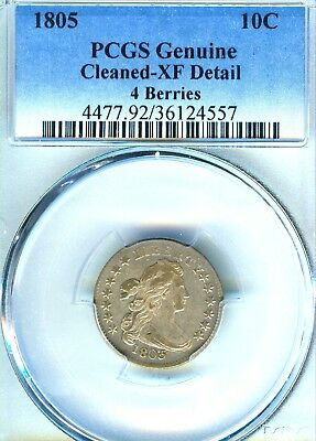 1805 Draped Bust Dime PCGS XF 4 Berries Very Scarce This Excellent Eye Appeal