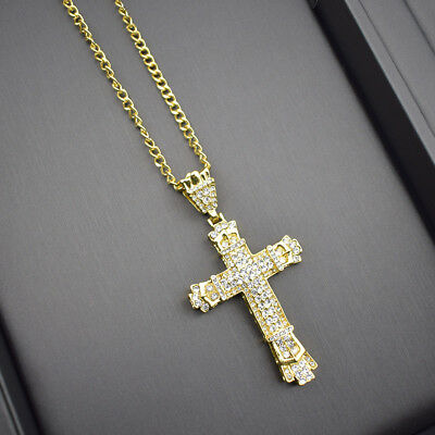 Man Big Cross Necklace Gold Metal Pendant for Men Long Chain Christian Jewelry