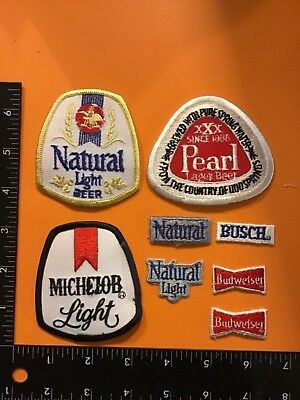 Vintage LOT Of 8 BEER Iron/Sew-On PATCHES Budweiser Michelob Busch Pearl Bar