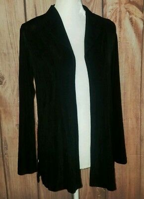 CHICO'S TRAVELERS Women's Small 4 (0) Black Acetate Shirt Open Front Cardigan