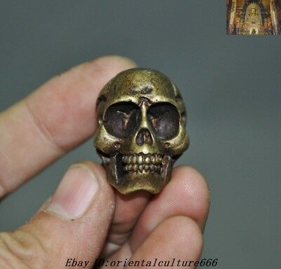 Rare Old Tibet fane Bronze Dharma Buddha Skull Ghost Head Statue Amulet Pendant