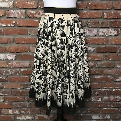 Vintage 1950's LONDY OF MEXICO Cotton Hand-Painted Circle Skirt, Vintage Size 14