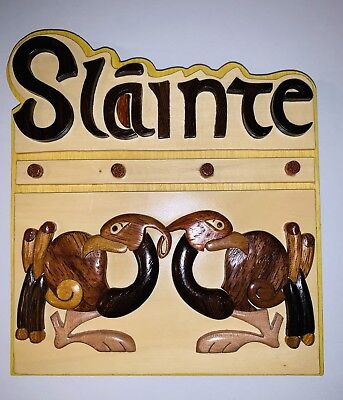 "Irish Saying - ""Slainte / Good Health"" Hand Carved Wood Plaque by Islandcraft"