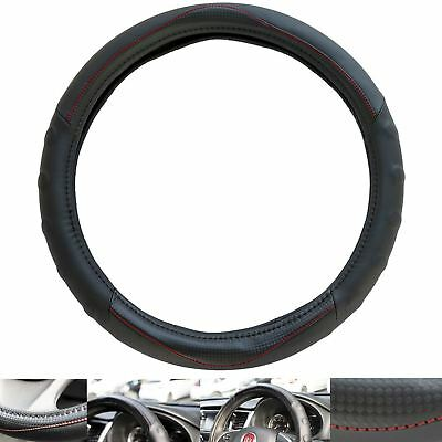 Carbon Leather Look Red Stitched Steering Wheel Cover VW Volkswagen Bora