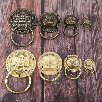 Antique Brass Drawer Handle Lion Head Drop Ring Pull Cupboard Knob Vintage Style