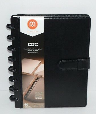 Staples Arc Customizable Notebook System Black Leather With Strap 60 Sheets New