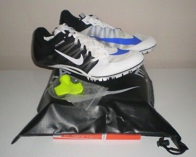 outlet store 8b9e1 d0348  125 Mens NIKE ZOOM JA FLY 2 Track Running Sprint Shoes Spikes WHITE BLACK  11.5