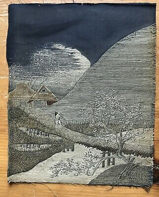 Antique Japanese Embroidery Country Landscape Scene ~ Silk Artwork
