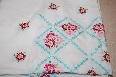 Vintage Hand Emboidered Pink Red Flower Floral Tablecloth Lot 2 Crocheted Linen