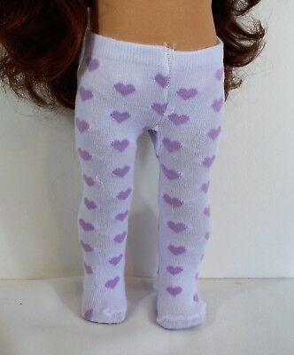 6b7cec4a6 Tights White Lavender Hearts 18 in American Girl Doll Accessories Valentine  Gift