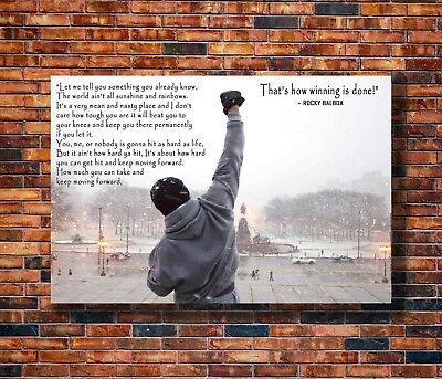 T1930 Silk Poster Rocky Balboa Motivational Quote Sylvester Stallone Art Print