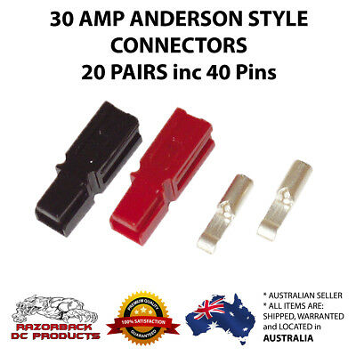 Anderson Style Powerpole Red & Black 30 Amp Plugs 12-16 AWG 20x Pairs
