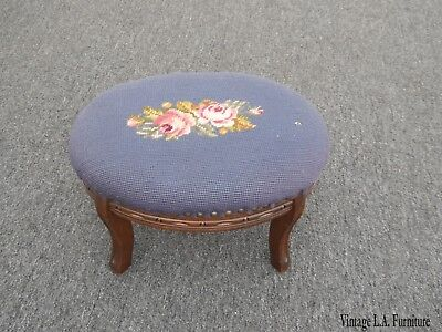 Vintage French Country Purple Tapestry Footstool w Floral Needlepoint