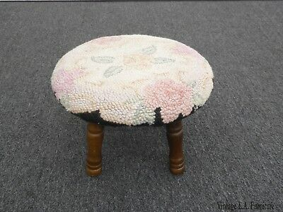 Vintage French Country Round  Floral Needlepoint White Footstool