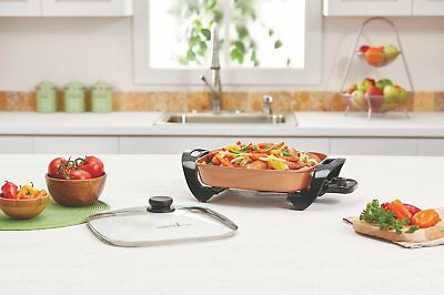 Copper Chef Electric Skillet w/ Glass Lid - For Steaming, Sauteing & Frying NEW