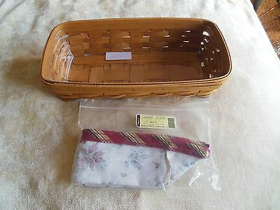 Longaberger Signed Bread Basket W/Plastic and Fabric Linings