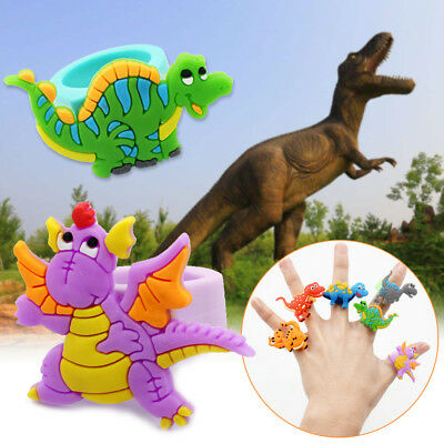 2/10Pcs Cartoon Dinosaur Soft Rubber Rings Kids Party Finger Rings Toys Gifts