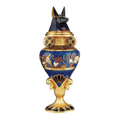 Anubis Urn Egyptian Canopic Nile River Jar Hand Painted Gold Blue