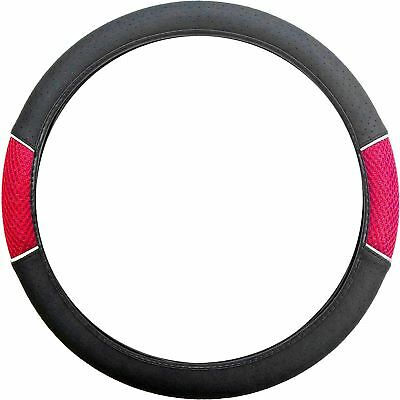 Red Black Steering Wheel Cover Soft Grip Mesh Look for Toyota Yaris All Models